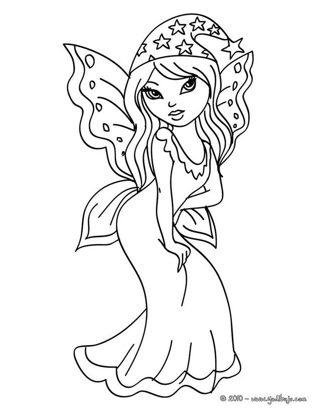 Dibujos para colorear una hermosa hada con alas - es.hellokids.com