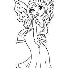 Dibujo de una hermosa hada con alas para colorear - Dibujos para Colorear y Pintar - Dibujos para colorear de FANTASIA - Dibujos para colorear HADAS - Dibujos de ALAS DE HADAS para colorear