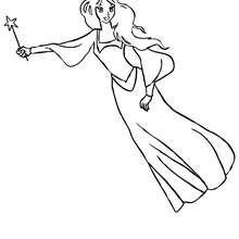 Dibujo de una hada voladora gracias a su varita magica para colorear - Dibujos para Colorear y Pintar - Dibujos para colorear de FANTASIA - Dibujos para colorear HADAS - Dibujos de VARITA DE HADA para colorear