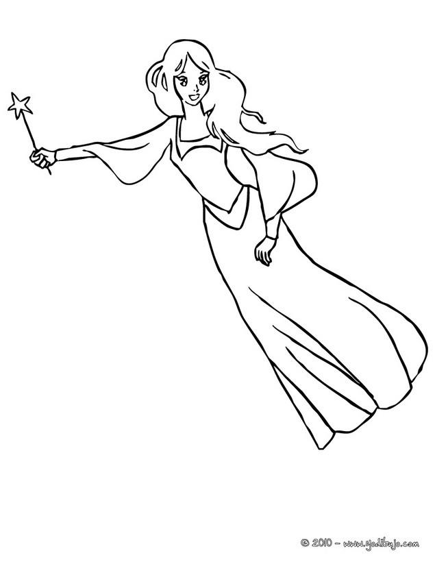 Worksheet. Dibujos para colorear una hada voladora gracias a su varita magica