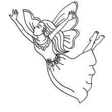 Dibujo para colorear : una hada voladora