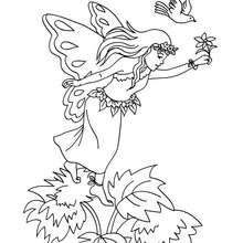 Dibujo de hada en un campo de flores para colorear - Dibujos para Colorear y Pintar - Dibujos para colorear de FANTASIA - Dibujos para colorear HADAS - Dibujos para colorear HADAS FLORES