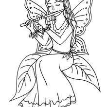 Dibujo para colorear hada tocando la flauta - Dibujos para Colorear y Pintar - Dibujos para colorear de FANTASIA - Dibujos para colorear HADAS - Dibujos para colorear HADA MAGICA