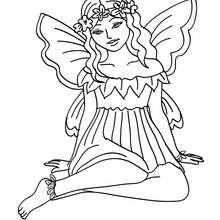 Dibujo para colorear un vestido de hada sentada - Dibujos para Colorear y Pintar - Dibujos para colorear de FANTASIA - Dibujos para colorear HADAS - Dibujos de VESTIDO DE HADA para colorear
