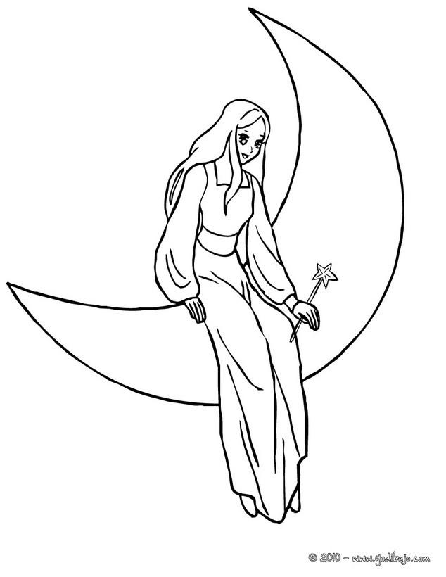 Dibujos para colorear hada sentada en la luna - es.hellokids.com