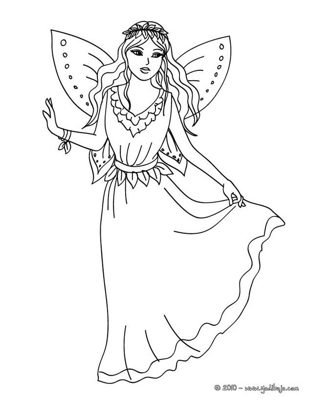 Dibujos para colorear hada con un hermoso vestido  eshellokidscom