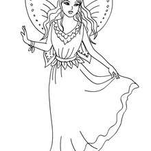 Dibujo para colorear hada con un hermoso vestido - Dibujos para Colorear y Pintar - Dibujos para colorear de FANTASIA - Dibujos para colorear HADAS - Dibujos de VESTIDO DE HADA para colorear