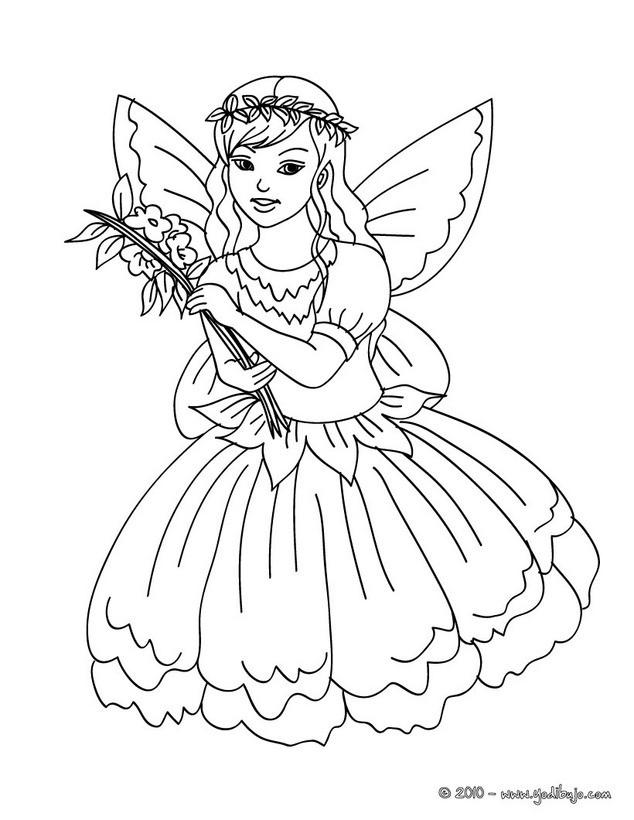 Dibujo para colorear una hada con un vestido de flores - Dibujos de ...
