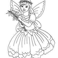 Dibujo para colorear una hada con un vestido de flores - Dibujos para Colorear y Pintar - Dibujos para colorear de FANTASIA - Dibujos para colorear HADAS - Dibujos de VESTIDO DE HADA para colorear