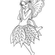 Dibujo de hada con un vestido de flores para colorear - Dibujos para Colorear y Pintar - Dibujos para colorear de FANTASIA - Dibujos para colorear HADAS - Dibujos de VESTIDO DE HADA para colorear