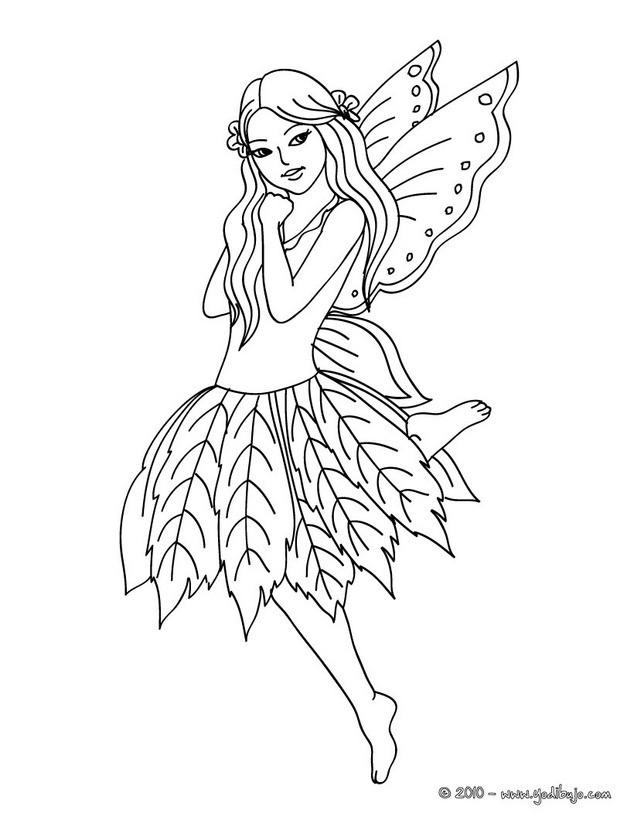 Dibujos para colorear hada con un vestido de flores  eshellokidscom