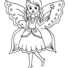 Dibujo de hada con hermosas alas para colorear - Dibujos para Colorear y Pintar - Dibujos para colorear de FANTASIA - Dibujos para colorear HADAS - Dibujos de ALAS DE HADAS para colorear