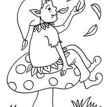 un elfo sentado en un champiñon
