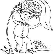 Dibujo para colorear : un elfo jugando