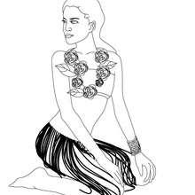 Colorear dibujo de princesa hawaiana - Dibujos para Colorear y Pintar - Dibujos de PRINCESAS para colorear - Dibujos de PRINCESA HAWAIANA para colorear