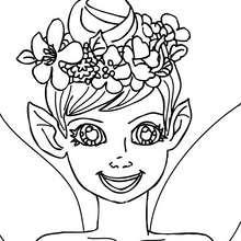 Dibujo para colorear : una elfo con una corona de flores