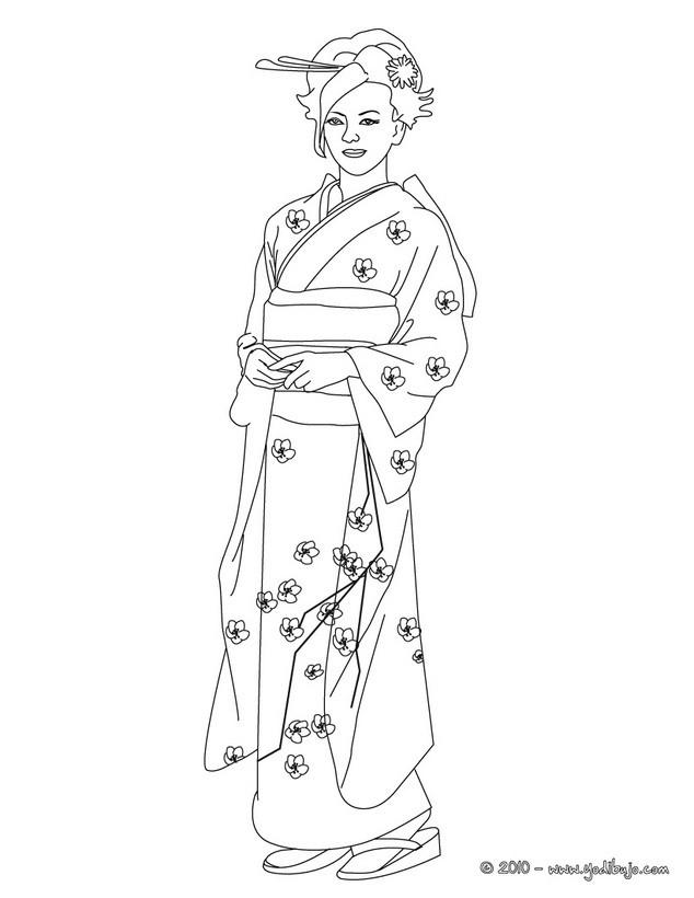 Dibujos para colorear princesa japonesa - es.hellokids.com