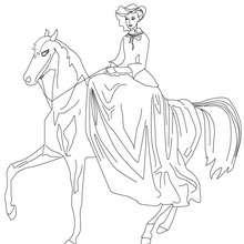 Dibujo de princesa montando a caballo para colorear - Dibujos para Colorear y Pintar - Dibujos de PRINCESAS para colorear - Dibujos para pintar PRINCESAS online