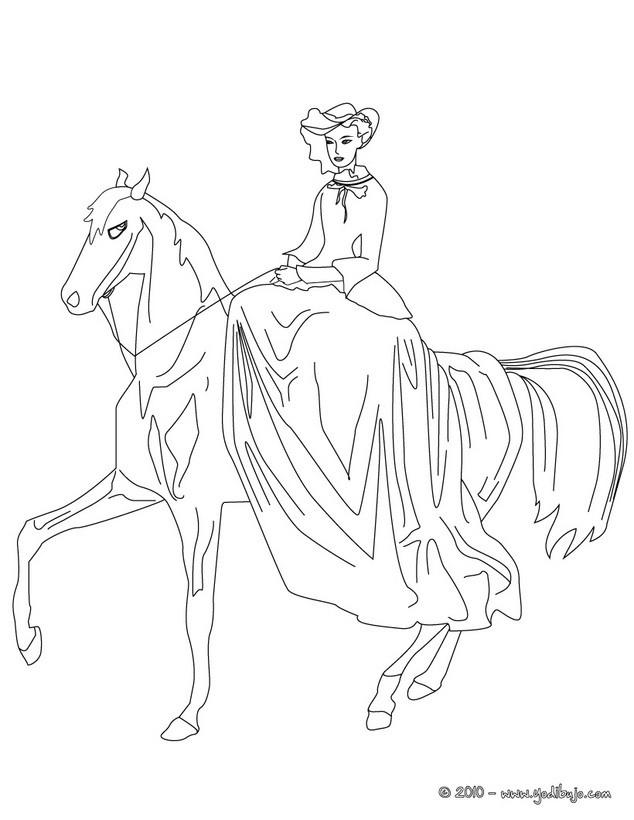 Dibujos para colorear caballo de princesa - es.hellokids.com