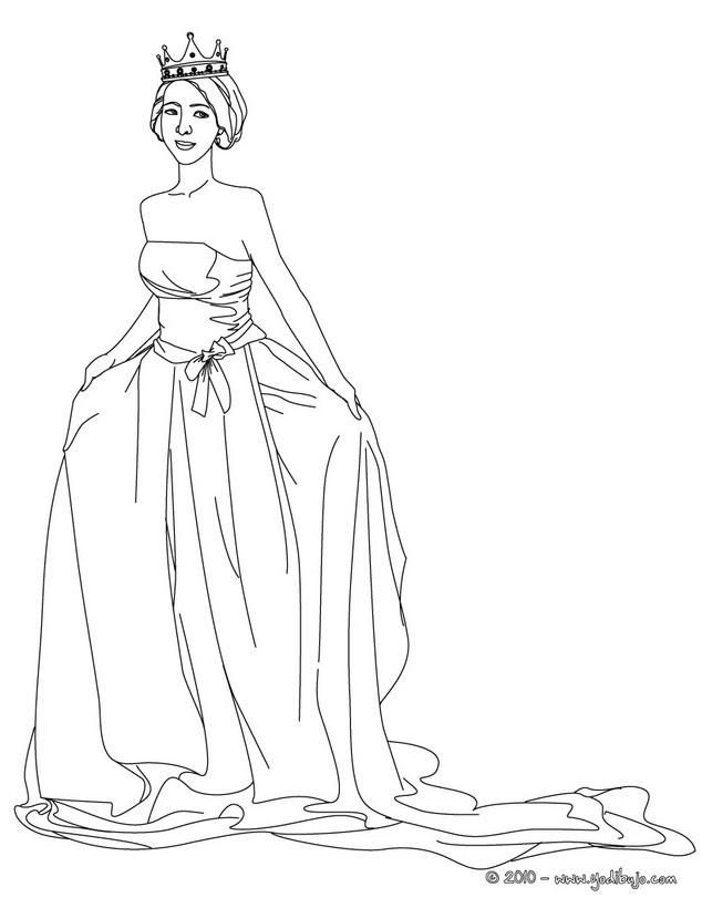Dibujos para colorear corona y vestido real de la princesa - es ...