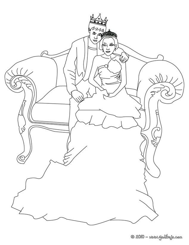 Dibujo para colorear : Pareja de Principes
