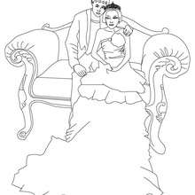 Dibujo de un principe y una princesa sentados para colorear - Dibujos para Colorear y Pintar - Dibujos de PRINCESAS para colorear - Dibujos de PRINCESA Y PRINCIPE para colorear