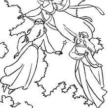 Dibujo para colorear 3 hadas volando - Dibujos para Colorear y Pintar - Dibujos para colorear de FANTASIA - Dibujos para colorear HADAS - Dibujos para colorear GRUPOS DE HADAS
