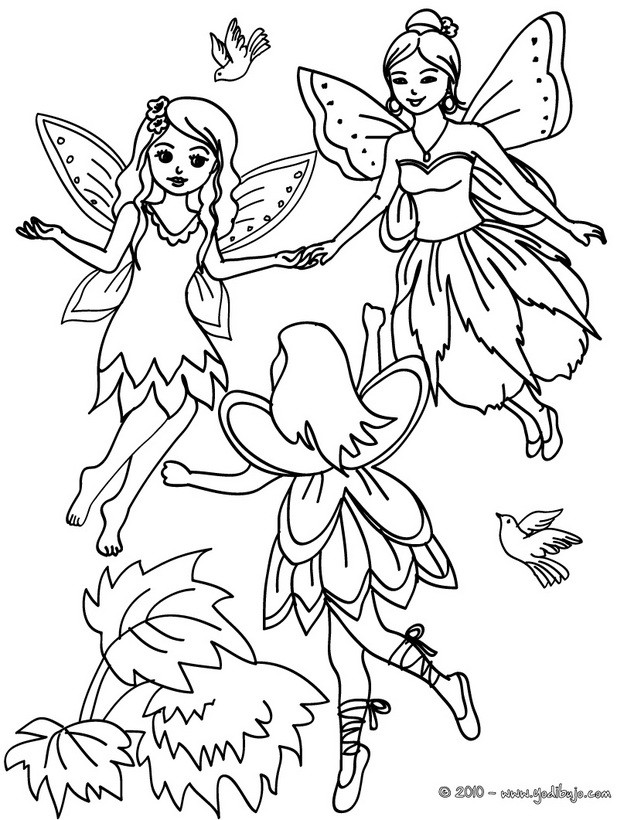Dibujos para colorear un grupo de hadas con alas - es.hellokids.com
