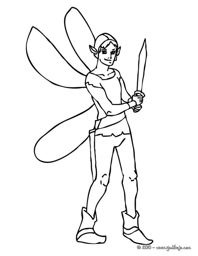 Dibujos para colorear elfo del lago - es.hellokids.com