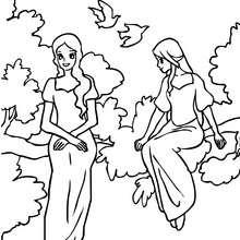 Dibujo de hadas en un arbol para colorear - Dibujos para Colorear y Pintar - Dibujos para colorear de FANTASIA - Dibujos para colorear HADAS - Dibujos de VESTIDO DE HADA para colorear