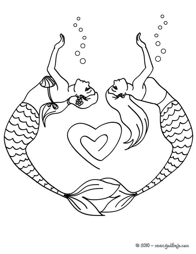 Dibujos para colorear sirenas y corazones - es.hellokids.com