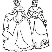 Dibujo de 2 princesas para colorear - Dibujos para Colorear y Pintar - Dibujos de PRINCESAS para colorear - Dibujos para pintar PRINCESAS online