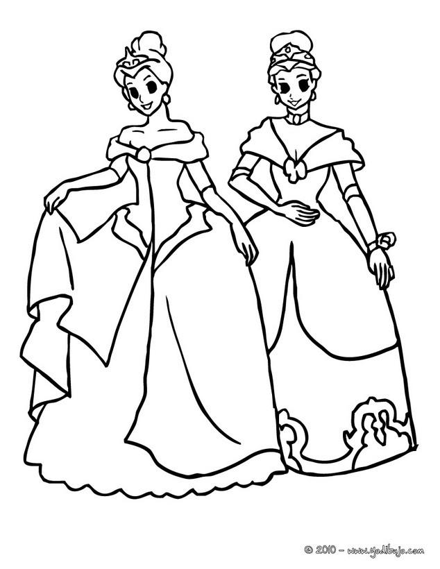 Dibujo para colorear : Princesas amigas