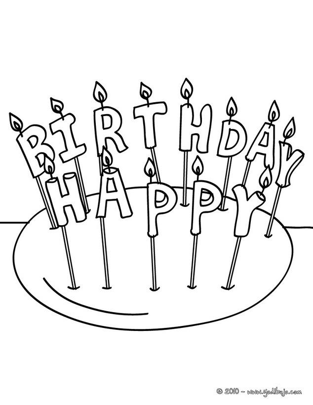 Dibujo para colorear : Velas de cumpleaños