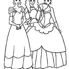 Dibujo de un grupo de princesas para colorear - Dibujos para Colorear y Pintar - Dibujos de PRINCESAS para colorear - Dibujos para pintar PRINCESAS online