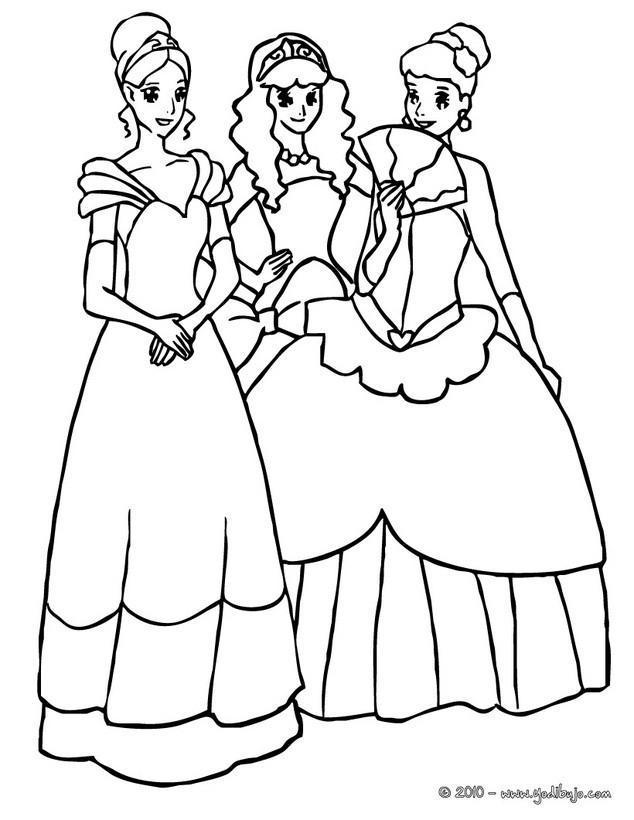 Dibujos para colorear grupo de princesas - es.hellokids.com