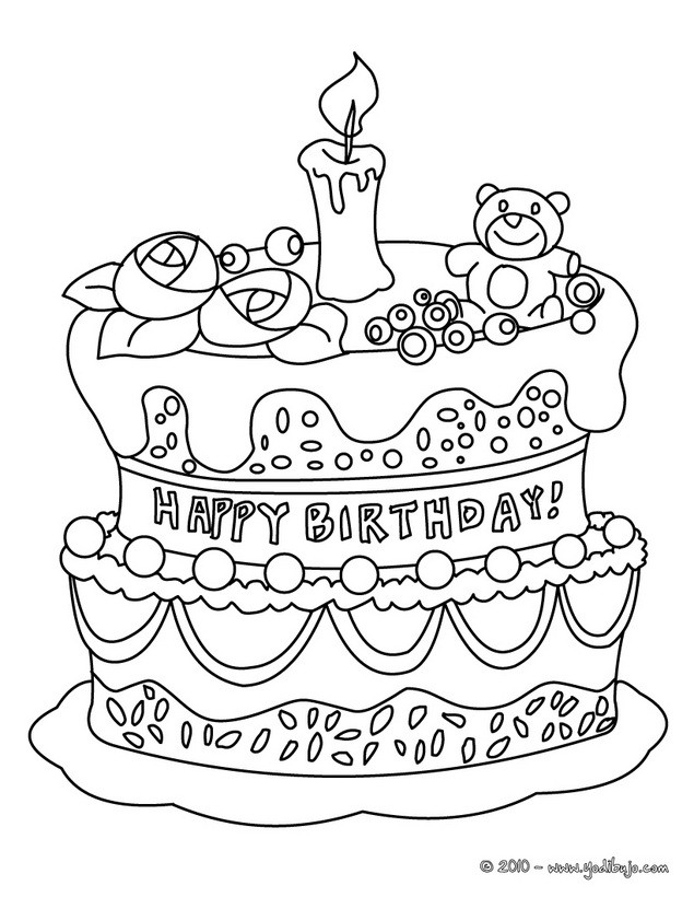 Dibujos para colorear pastel de cumple 10 años - es.hellokids.com
