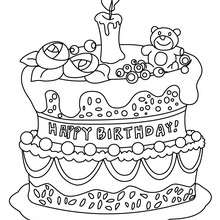 Dibujo para colorear : Pastel de cumpleaños