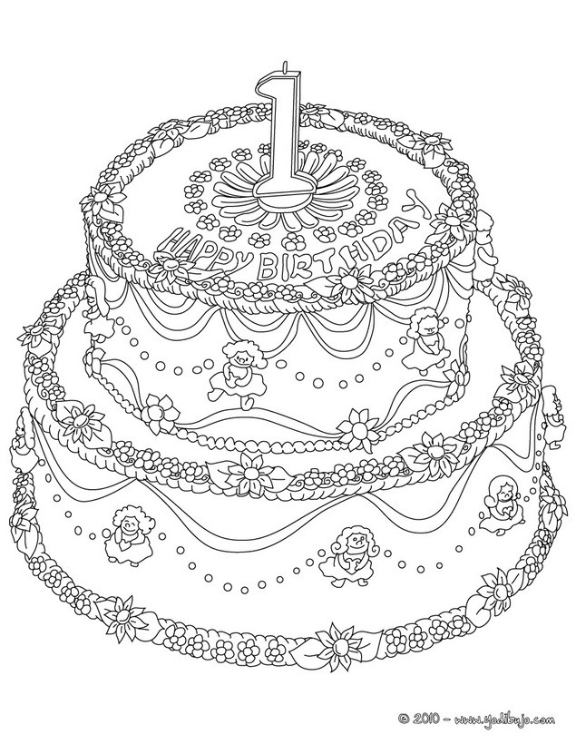Dibujos para colorear pastel de cumple 2 años - es.hellokids.com