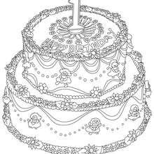 Dibujo para colorear : Pastel de cumple 1 año