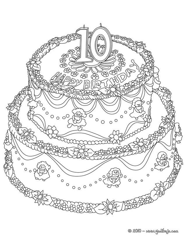 Dibujo para colorear : Pastel de cumple 10 años