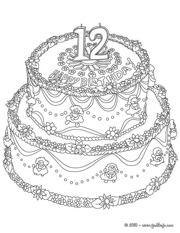 Dibujos para colorear TARTAS CUMPLEAÑOS   imprimir 14 dibujos para