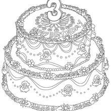 Dibujo para colorear : Pastel de cumple 3 años