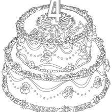 Pastel de cumple 4 años para colorear - Dibujos para Colorear y Pintar - Dibujos para colorear FIESTAS - Dibujos para colorear CUMPLEAÑOS - Dibujos para colorear TARTAS CUMPLEAÑOS