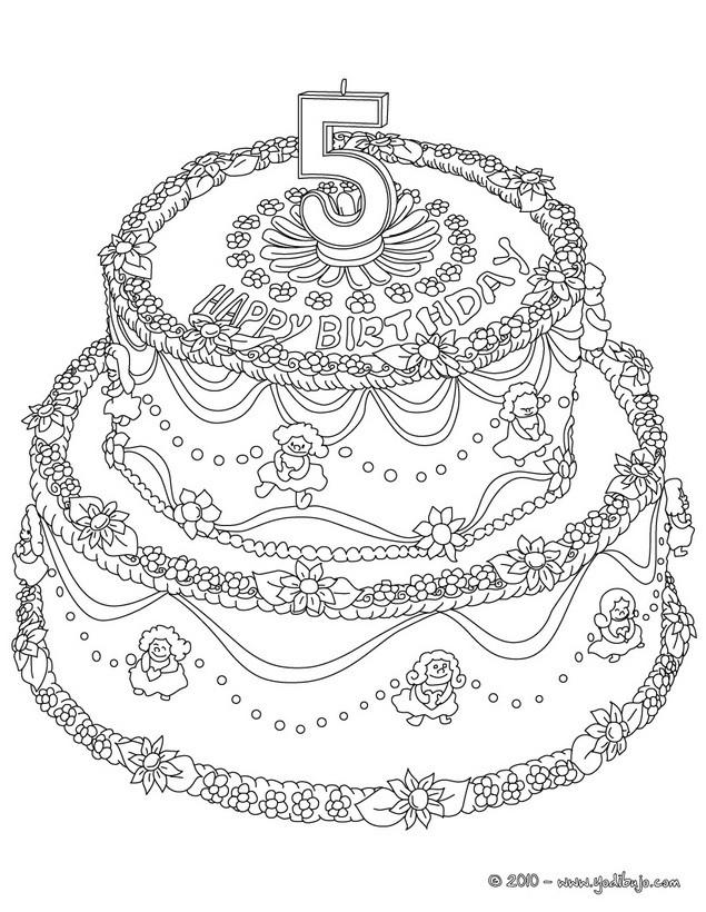 Dibujos para colorear pastel de cumple 8 años - es.hellokids.com