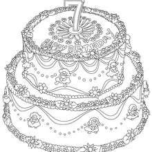 Dibujo para colorear : Pastel de cumple 7 años