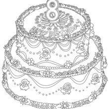 Pastel de cumple 8 años para colorear - Dibujos para Colorear y Pintar - Dibujos para colorear FIESTAS - Dibujos para colorear CUMPLEAÑOS - Dibujos para colorear TARTAS CUMPLEAÑOS