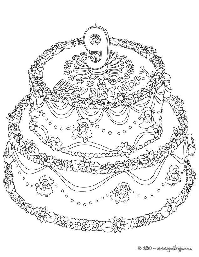 Dibujos para colorear pastel de cumple 9 años - es.hellokids.com
