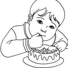 Dibujo para colorear : Niño comiendo pastel de cumpleaños
