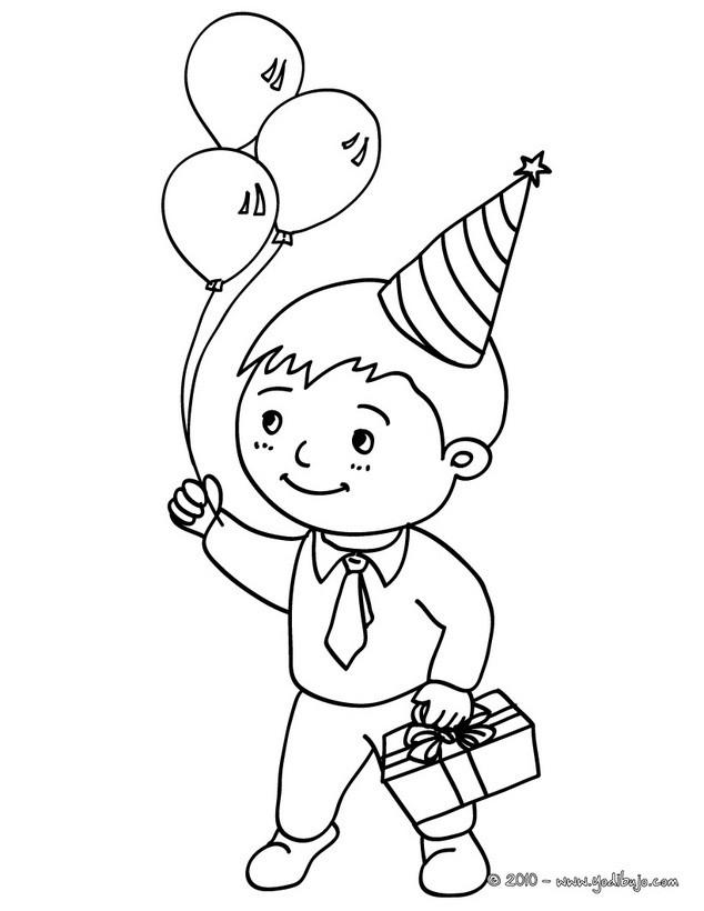 Niño con su regalo de cumpleaños para colorear - Dibujos CUMPLEAÑOS ...